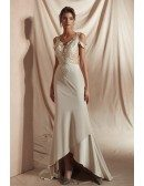 High Low Champagne Fitted Formal Dress with Lace Beading Top