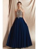 Deep Blue Chiffon Halter Prom Dress with Gold Lace Color Rhinestones