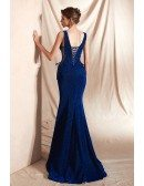 Royal Blue Double V Neck Mermaid Curvy Prom Dress with Shiny Sequins