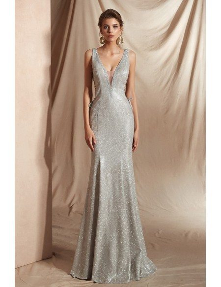 Amazing Silver Long Mermaid Formal Dress with Deep V Neck