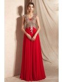 Gorgeous Red Chiffon Long Evening Dress with Lace Rhinestone Top