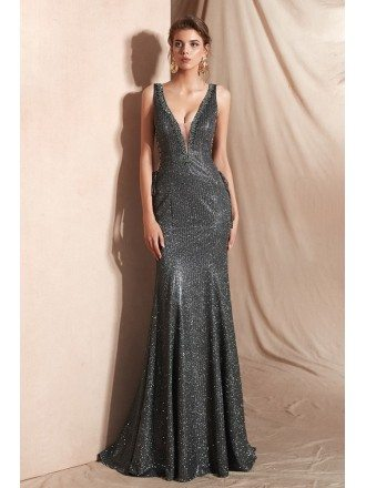 Sexy Grey Deep V Shiny Evening Dress Long In Mermaid 2019