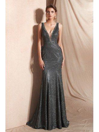 Sexy Grey Deep V Shiny Evening Dress Long In Mermaid 2019