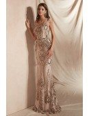 Sparkly Sequin-lace Gold Mermaid Formal Dress Long with Round Neck