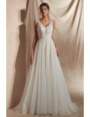 Sleeveless A Line Tulle Beach Wedding Dress with Lace Beading Top