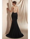 Sexy Mermaid Black with Gold Beading Prom Dress with Slit Front
