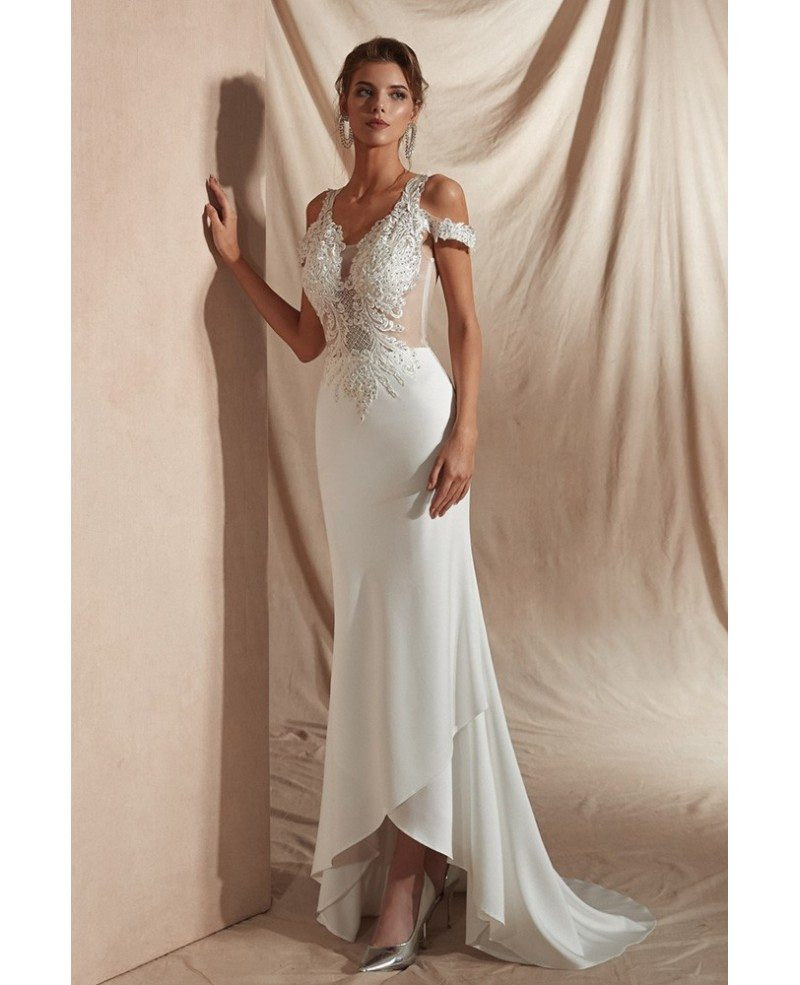 Sexy Tight Lace Beaded Informal Bridal Dress For 2019 ...