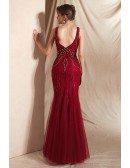 Mermaid Tight Burgundy Deep V Prom Dress with Shiny Beading