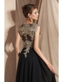 Elegant Black Long Chiffon Formal Dress with Gold Lace Top