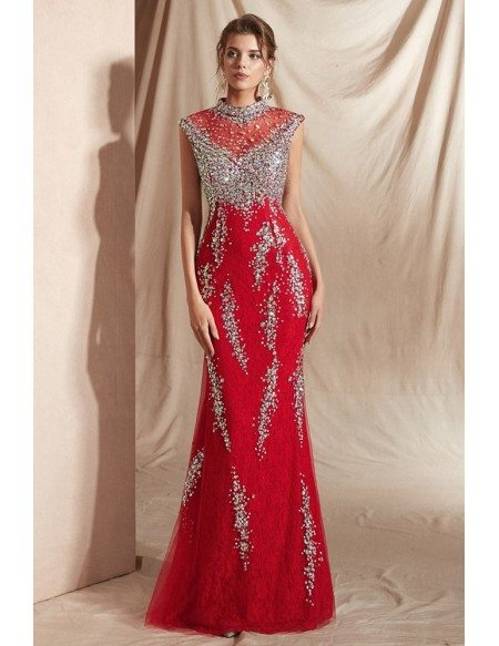 Modest Red Long Mermaid Party Dress with Sparkly Silver Sequin
