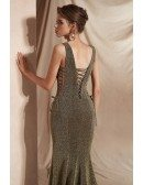 Glittering Brown Long Mermaid Prom Dress with Deep V Neck