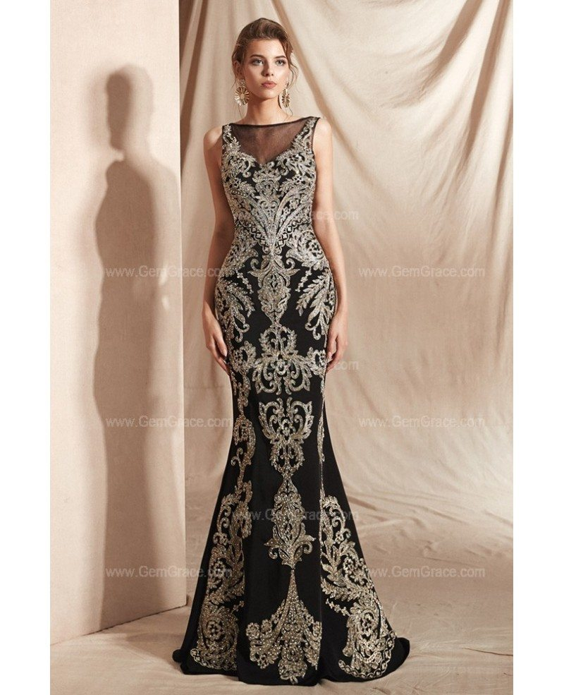 Black With Gold Embroidery Formal Prom Dress Long In Mermaid 27012 Gemgrace