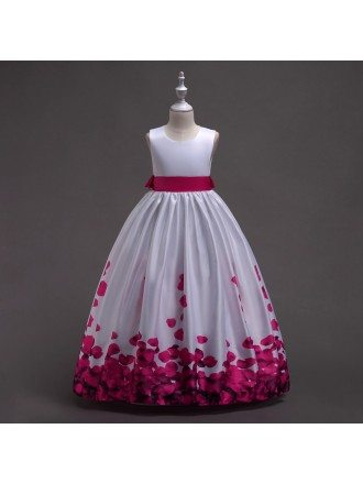 Elegant Satin Printed Petal Rose Flower Girl Dress with Sash