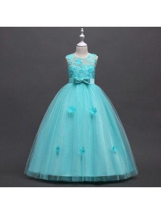 Aqua Long Tulle Applique Flower Girl Dress For Beach Wedding