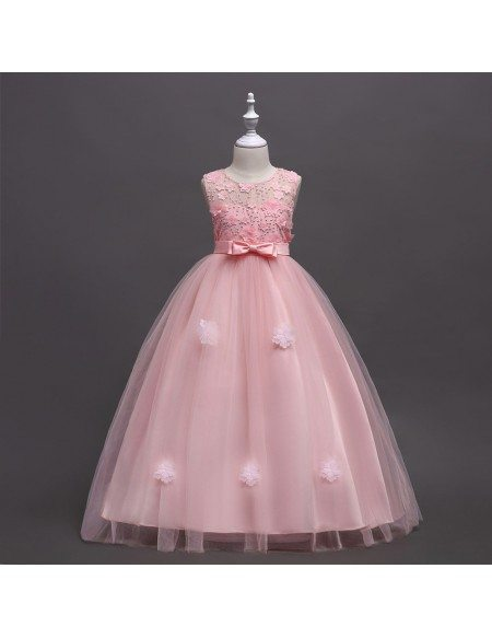 Aqua Long Tulle Applique Flower Girl Dress For Beach Wedding