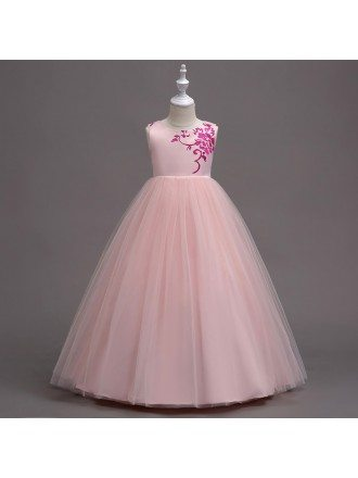 Simple Tulle Embroidery Pink Flower Girl Dress In Floor Length