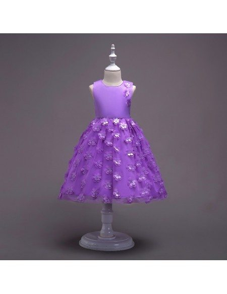 Beautiful Short Children Girl Dress with Flowers