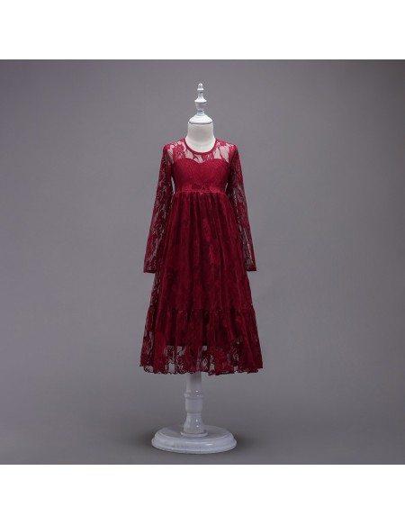 Burgundy Lace Long Sleeve Flower Girl Dress For Winter Weddings