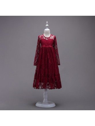 Burgundy Lace Long Sleeve Flower Girl Dress For Winter Weddings