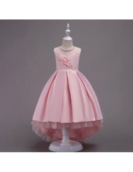 Vintage Hi-lo Pink Lace Beaded Flower Girl Dress with Flounce Hem