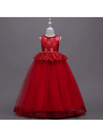 Rustic Red Long Sleeveless Flower Girl Dress with Lace Hem