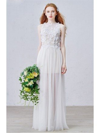Graceful A-Line Scoop Neck Floor-Length Tulle Wedding Dress With Flowers