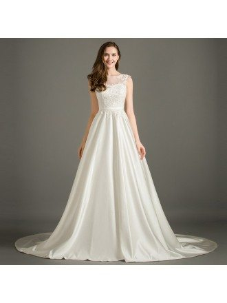 Elegant A-Line Scoop Neck Court Train Satin Wedding Dress With Appliques Lace