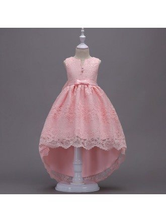 Cheap All Lace Cute Pink Flower Girl Dress In High Low Style