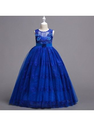 Unique Lace Royal Blue Flower Girl Dress For Fall Wedding