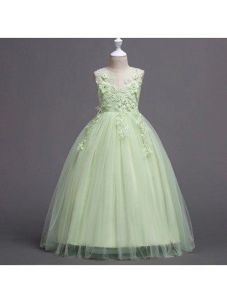 Cheap Casual Mint Green Flower Girl Dress with Applique Bodice