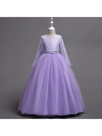Lavender Beaded Winter Flower Girl Dress with Long Lace Sleeves