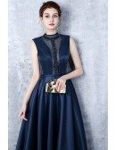 Unique Navy Blue Beaded High Neck Prom Dress Satin Formal Dress with Keyhole Back