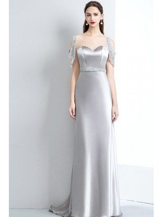 Classy Silver Satin Prom Evening Dress Open Back with Sequins Sleeves