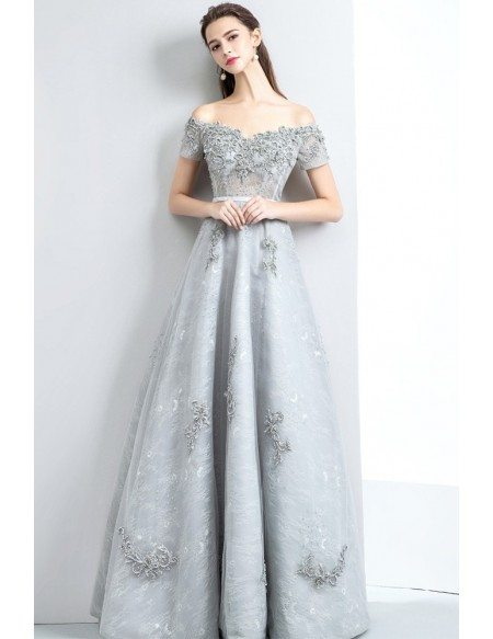 Gorgeous Beaded Off Shoulder Grey Prom Dress Long with Lace