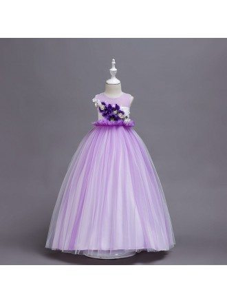 Princess Purple Long Tulle Flower Girl Dress with Floral Bodice
