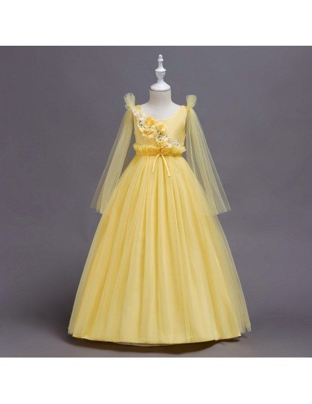 Country Long Sleeves Yellow Flower Girl Dress with Applique
