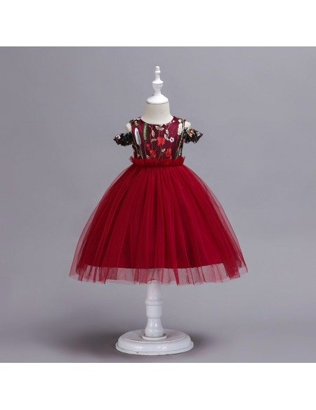 Unique Embroidery Toddler Red Party Dress with Off Shoulder Straps