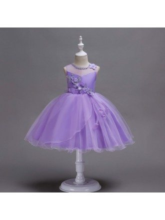 Poofy Lavender Short Flower Girl Dress with Applique
