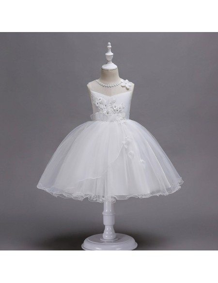 Poofy Lavender Short Flower Girl Dress with Applique