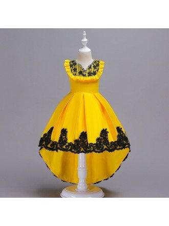 Hi Lo Yellow with Black Lace Satin Flower Girl Dress For Juniors