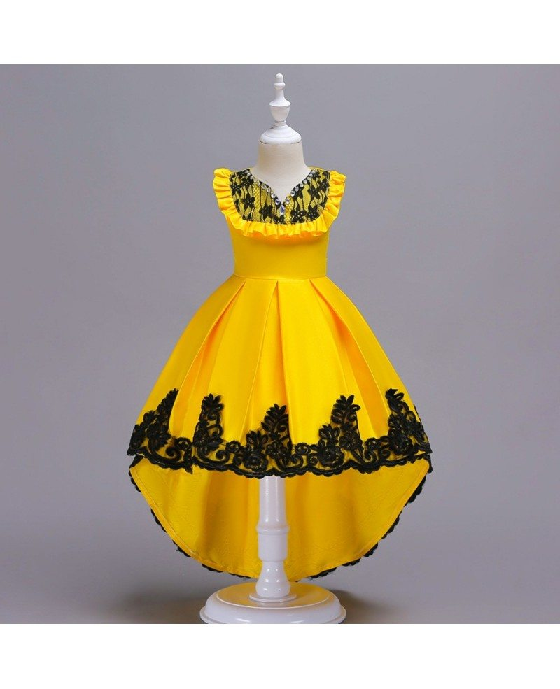 $4.4 Hi Lo Yellow with Black Lace Satin Flower Girl Dress For