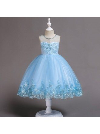 Sparkly Sequin Sky Blue Short Flower Girl Dress For Summer Beach Wedding