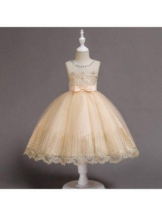 Princess Champange Short Flower Girl Dress with Lace Beading