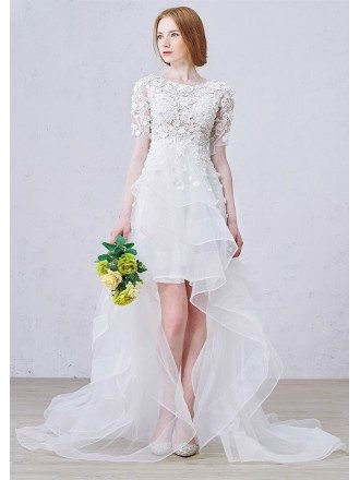 Stylish A-Line Scoop Neck Asymmetrical Organza Wedding Dress With Appliques Lace