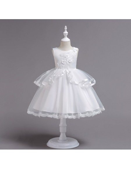 Cheap Applique Rose Short Kid Flower Girl Dress with Lace Hem