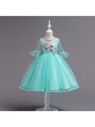 Floral Short Teal Teen Flower Girl Dress with Sleeves For Cheap