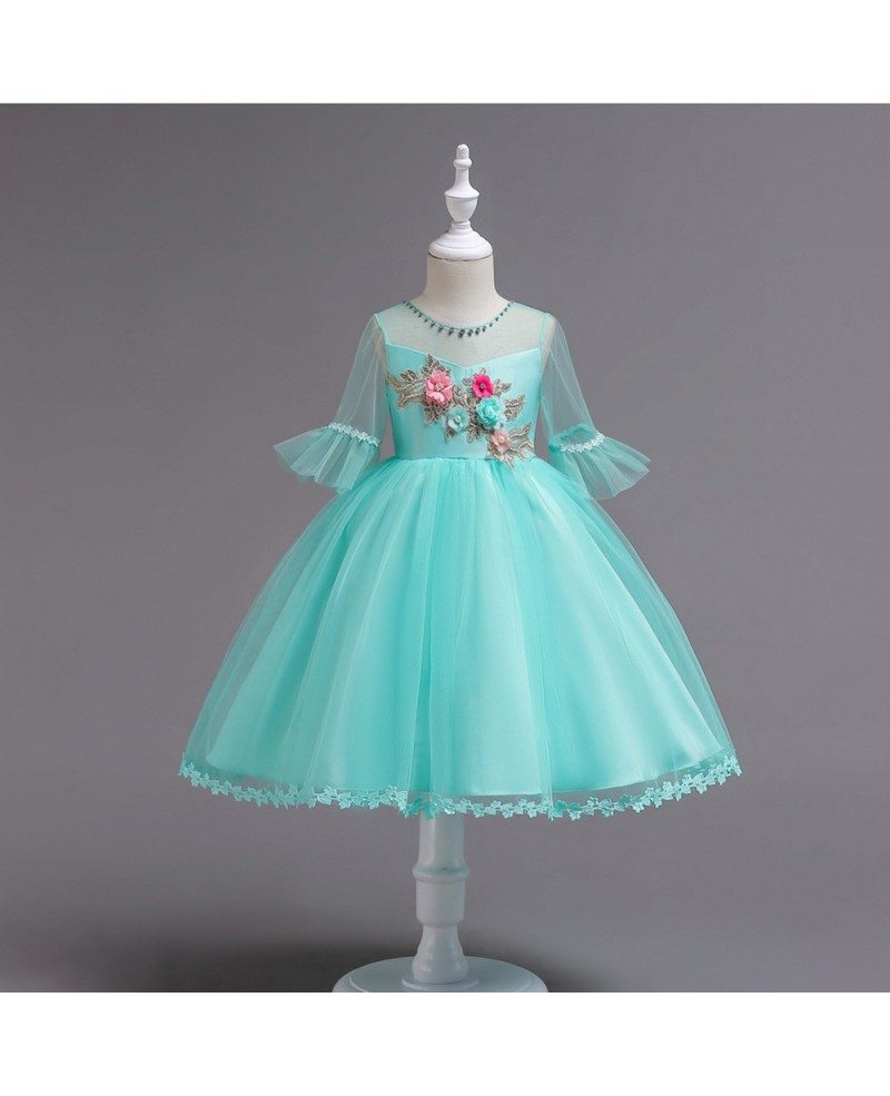 35 5 Floral Short Teal Teen Flower Girl Dress With Sleeves For Cheap Qx 726 Gemgrace Com
