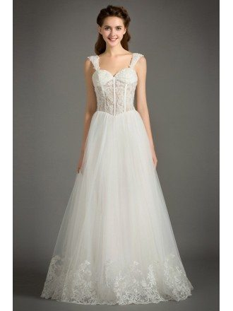Feminine A-Line Sweetheart Floor-Length Tulle Wedding Dress With Appliques Lace