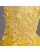 Cheap Princess Yellow Long Flower Girl Dress with Applique Lace