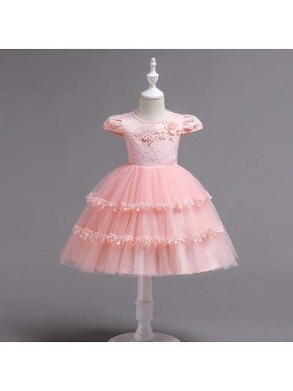 2019 Layered Tutu Pink Lace Flower Girl Dress For Toddlers